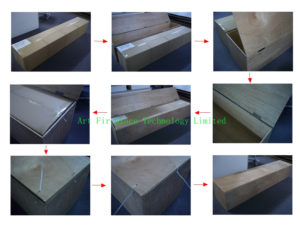 wooden package of auto bioethanol fireplace insert