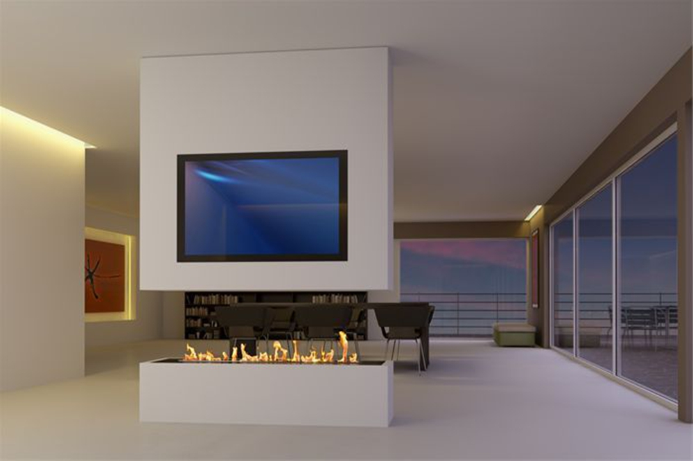 Intelligent-Ethanol-fireplace-insert-with-remote-control